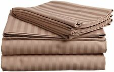 Scala Bedding 1000-TC 100%Cotton Flat Sheet / Top Sheet Taupe Stripe Choose Size