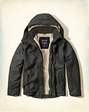 NWT Hollister-Abercrombie&Fitch Mens All-Weather Jacket Sherpa-Lined Grey S M L