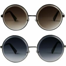 Womens Extra Large Retro Oversize Lennon Inspired Metal Round Prism Sunglasses