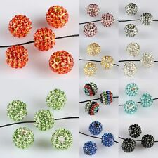 5/10/20/50Pcs Austrian Crystal GEM Hip Hop Disco Pave 10mm Ball Spacer Beads