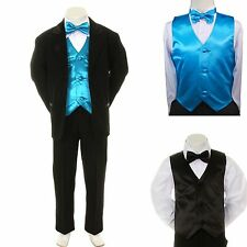 New Boy Kid Formal Wedding Party Black Suit Tuxedo + Turquoise Vest Bow Tie 5-7