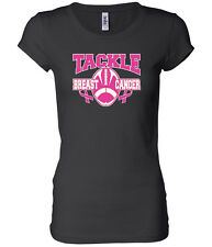 Ladies Longer Length T-shirt Breast Cancer Awareness Tackle Cancer