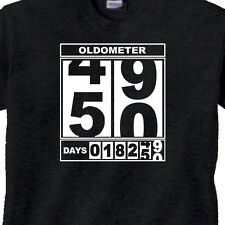 "WOMENS 50th BIRTHDAY T-Shirt ""OLDOMETER"" BLACK Tee 50 Year Old BIRTHDAY -FUNNY"