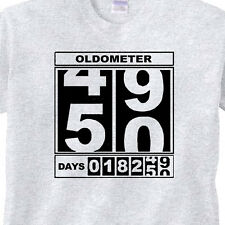 "MENS 50th BIRTHDAY T-Shirt ""OLDOMETER"" GREY Tee -50 Year Old BIRTHDAY FUNNY TEE"