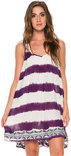 New Roxy Women's On And On Tie Dyed Dress Sleeveless Viscose White