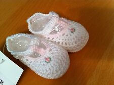 Baby Girl Booties Petit Ami White and Pink Crocheted  NWT