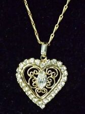 Goldtone Rhinestone Heart Pendant Necklace