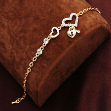 HOT Heart Sign Fashion Jewelry Gold Plated Women Chain Link Key Charm Bracelet