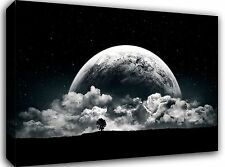 """Moon Space Clouds Landscape 30x20"""" Canvas Wall Art Picture Print Framed"""