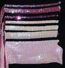 """Stretch Sequin Trim in Pinks. 3/4"""", 1"""". 2"""",  2.5"""", Sold by the Yard"""