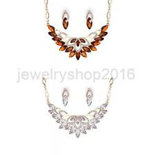 Women Lady Wedding Prom Beaded Gemstone Crystal Earring Necklace Jewelry Set Hot