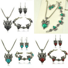Antique Tibetan Crystal Owl Turquoise Necklace Bracelet Earring Jewelry Sets Hot