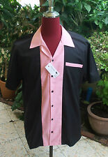 Men's Rockabilly Vintage 1950's Style  Retro Bowling Shirt  Black & Pink