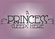 A PRINCESS SLEEPS HERE Vinyl Wall Saying Lettering Quote Decor Decal Sign Craft