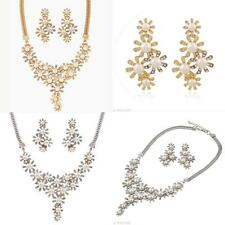 Shiny Women Rhinestone Pearl Flower Pendant Chocker Earring Set Necklace Jewelry