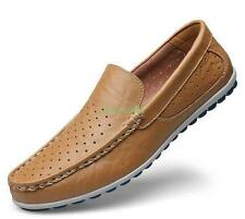 Men slip on loafer driving shoes flat leather casual hollow out sandals moccasin