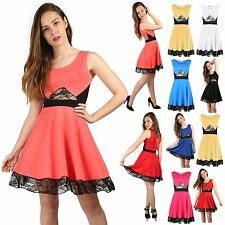 Womens Ladies Sleeveless Waist Lace Detail Flared Franki Skater Dress Plus Size
