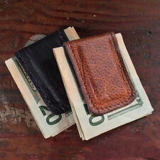 Handmade Amish Leather Money Clip Holder comes in Brown or Black Made in the USA