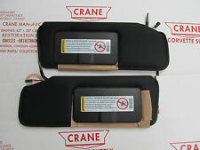 1984-96 CORVETTE  MIRROR NEW BLACK VETTE SUN VISORS PAIR  SHADED VANITY