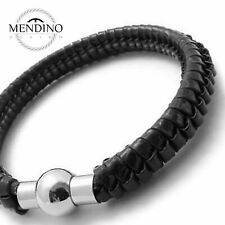 MENDINO Mens Stainless Steel Leather Bracelet Braided Cuff Magnetic Bangle Black