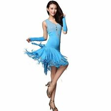 Ballroom Dress Diamond+Tassels Latin Dance Skirt Standard Prom Wear
