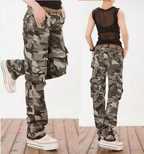 Womens loose cotton Military overall Cargo camo Pants Casual Outdoor Trousers
