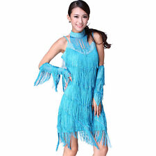 Latin Dance Layers Tassels+Rhinestone Dress Ballroom Skirt Standard Prom Wear