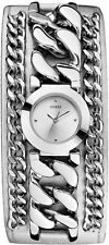 GUESS SILVER TONE STAINLESS STEEL CHAIN LEATHER CUFF WOMEN'S WATCH U12643L1 NEW