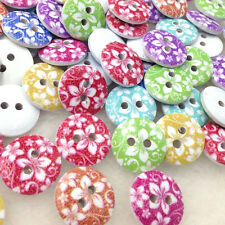 New 10/50/100/500pc European Style Flowers Wood Buttons 15mm Sewing Mix W314