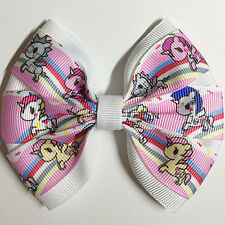 Cartoon Unicornos theme printed grosgrain ribbon hair bow