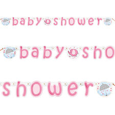 Baby Shower Banner-Baby Girl Umbrella Elephants-Baby Shower Party Decorations