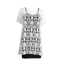 Womens Ladies Glipure Lace Tunic Top with black vest top inside