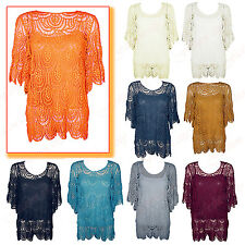 Womens Ladies Big Flower Crochet Knitted Vest Insert Short Sleeve DressTop 10-16