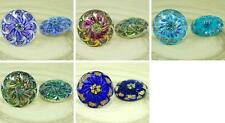 1pc Flower Handmade Czech Glass Buttons Size 12, 27mm