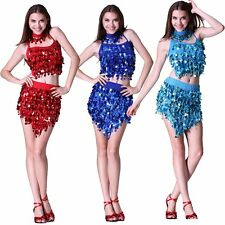 Ballroom Dress Gong Sequins Latin Dance Skirt Standard Prom Wear