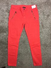NEW TOPSHOP Red Skinny Denim Stretchy Trousers Jeans - Womens Size UK 14