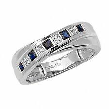 White Gold Sapphire & Diamond Crossover Eternity Ring Sizes R - Z Made to Order