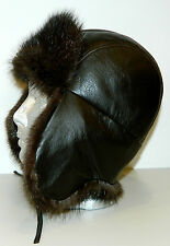 NEW MEN DARK BROWN BLACK GENUINE  WARM MUSKRAT FUR HAT LEATHER TOP ALL SIZES