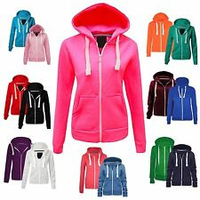 Ladies Women's Girls Plain Hoodie Sweatshirt Hooded Jumper Jacket Zip Top