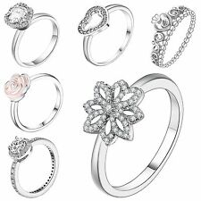 Genuine Fine Crystals 925 Sterling Silver Wedding Engagement Ring Size 6-9 Gift