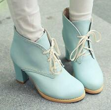 School girls Womens chunky heels lace up ankle boots casual shoes