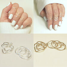 5Pcs/Set Women Gold Silver Above Knuckle Finger Ring Band Midi Rings Fashion New