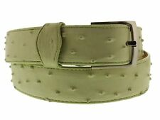 Men's Green Real Leather Ostrich Exotic Pattern Casual Dress Golf Jean Belt