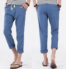 New Mens beach cropped Pants Slacks Trousers Sweatpants breathable cotton linen