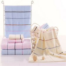 100% Cotton Striped Absorbent Soft Hand Face Cloth Washcloth Bath Towel 3 Size