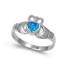 Irish Claddagh Knot Promise Engagement Ring Sterling Silver Blue Lab Blue Opal