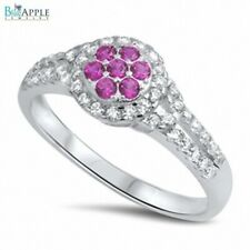 Beautiful Plumeria Ring Solid 925 Sterling Silver Shiny Ruby Multicolor Clear CZ
