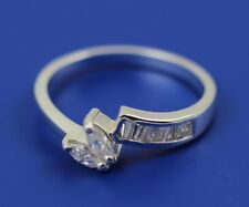 Ladies Fashion Wrap Ring 925 Sterling Silver Marquise Baguette Clear Russian CZ