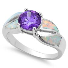 Solitaire Wedding Ring 925 Sterling Silver 1.10Ct White Opal Synthetic Amethyst
