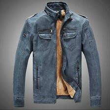 Men's Fashion Motorcycle Cowboy Fur Lined Leather Stand Collar Jacket Retro Coat